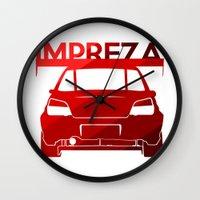 subaru Wall Clocks featuring Subaru Impreza - classic red - by Vehicle