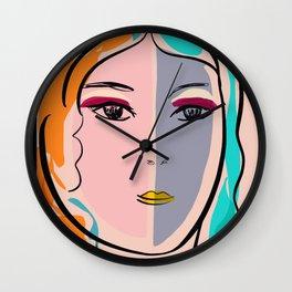 Pastel Pop Art Girl Portrait Minimalist Wall Clock