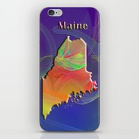 maine iPhone & iPod Skins featuring Maine Map by Roger Wedegis
