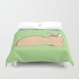 White-Tailed Deer Spring Green Duvet Cover