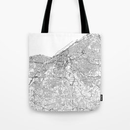 Cleveland White Map Tote Bag