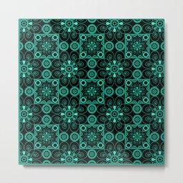 Retro . Black turquoise ornament . Metal Print