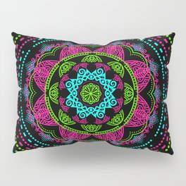 Mandala Energy in Neon Pillow Sham