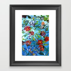 Blue Flower Swirl Framed Art Print