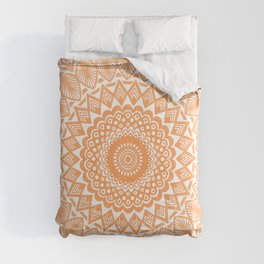 Orange Tangerine Mandala Detailed Textured Minimal Minimalistic Comforters