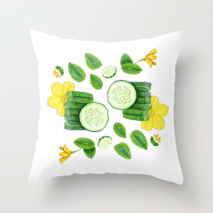 Cucumber and Mint Throw Pillow