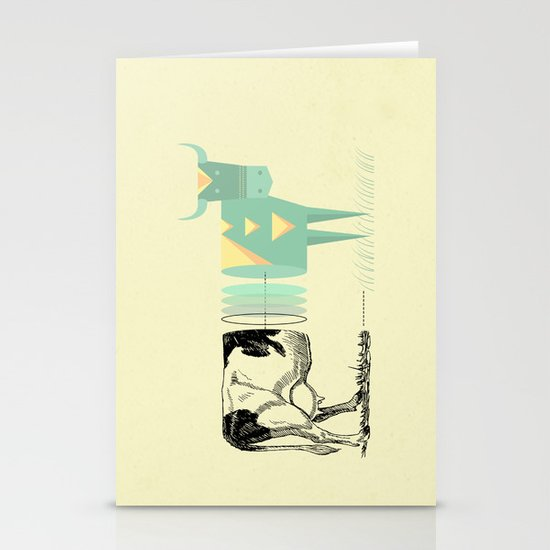 the black and white cow who wanted to be colorfully geometric  Stationery Cards