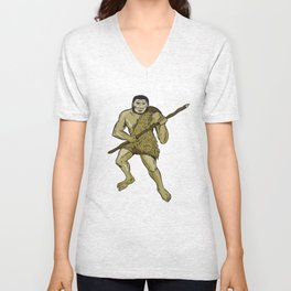 Neanderthal Man Holding Spear Etching Unisex V-Neck