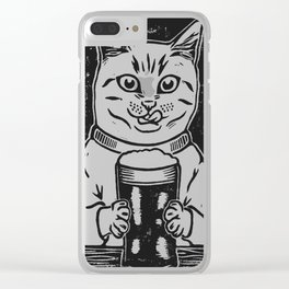 Thirsty Cat Clear iPhone Case