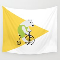 cycling Wall Tapestries featuring Cycling Polar Bear Triangle by Doucette Designs