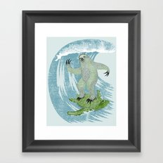 Surfin' Sloth Framed Art Print