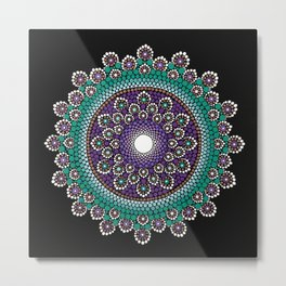 Purple and Teal Mandala Metal Print