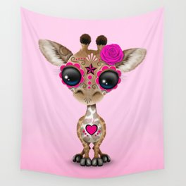 Pink Day of the Dead Sugar Skull Baby Giraffe Wall Tapestry