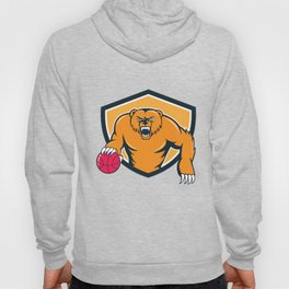 Grizzly Bear Angry Dribbling Basketball Shield Cartoon Hoody