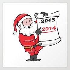 New Year 2014 Santa Claus Scroll Sign Art Print