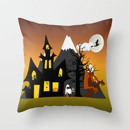 Halloween Scene Throw Pillow