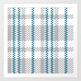Plastic Woven Checkered bag: Blue and Grey Art Print