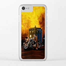 10th Doctor who with Big Motorcycle Clear iPhone Case
