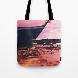 Thai longtail boat on the beach Tote Bag