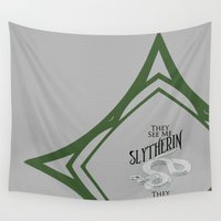 slytherin Wall Tapestries featuring They See Me Slytherin by Cassandra Renee Schilliger