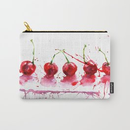 Bright cherry. Hand drawn watercolor illustration. Watercolor berries. Carry-All Pouch