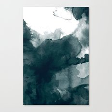 Dark Green Watercolor Marble Canvas Print