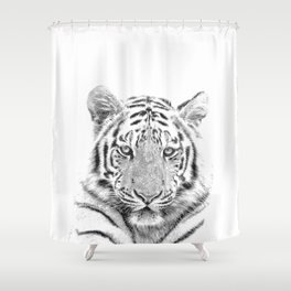 Black and white tiger Shower Curtain