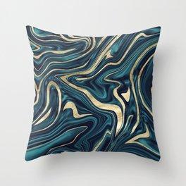 Teal Navy Blue Gold Marble #1 #decor #art #society6 Throw Pillow
