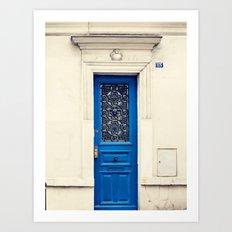Paris door, navy, petite Art Print