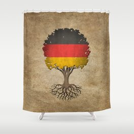 Vintage Tree of Life with Flag of Germany Shower Curtain