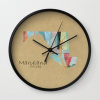 maryland Wall Clocks featuring Maryland state map by bri.buckley