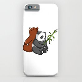 Grizzly Bear And Panda Bear Together iPhone Case