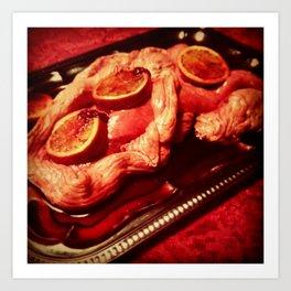 Intestine Wrapped Lung & Blood Oranges Art Print