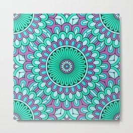 Cyan Purple Mandala Metal Print