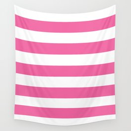 Barbie Pink (1990-1999) - solid color - white stripes pattern Wall Tapestry