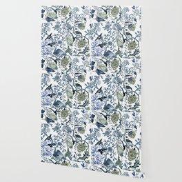 Blue vintage chinoiserie flora Wallpaper