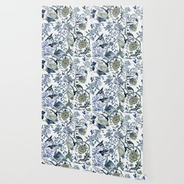 Blue vintage chinoiserie flora Wallpaper