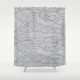 Waves in Charcoal Shower Curtain