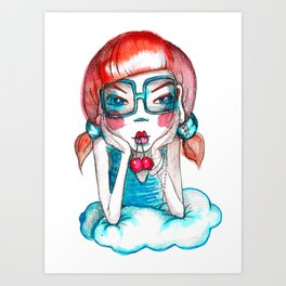 girl with cherry Art Print