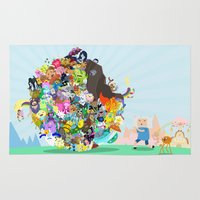 katamari Area & Throw Rugs featuring Adventure Time - Land of Ooo Katamari by Sin nombre