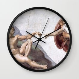 Creation Of Adam Painting Wall Clock