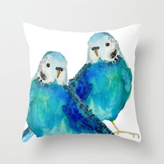 Blue budgie watercolor Throw Pillow