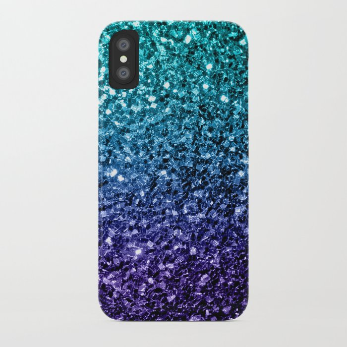 Beautiful Aqua Blue Ombre Glitter Sparkles Iphone Case By