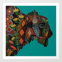 bison teal Art Print