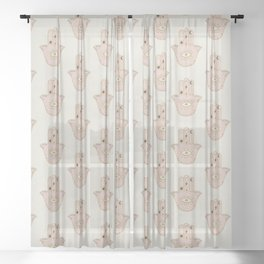 Boho Light Colored Hamsa Hand Pattern in dusty light pink and cream Sheer Curtain