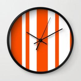 Mixed Vertical Stripes - White and Dark Orange Wall Clock