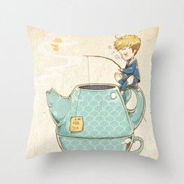 Tea Fishing Throw Pillow