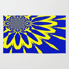Blue & Yellow Modern Flower Rug