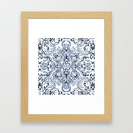 Indigo, Navy Blue and White Calligraphy Doodle Pattern Framed Art Print