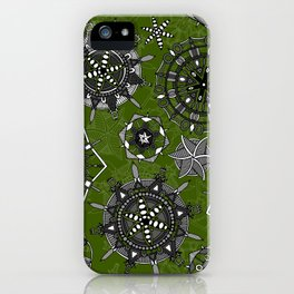 mandala snowflakes green iPhone Case